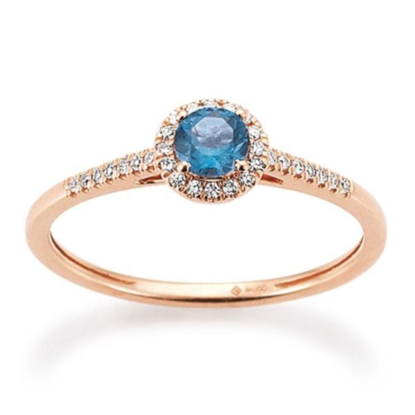 Ring Rotgold 585 Topas London Blue Brillant Palido K11605R
