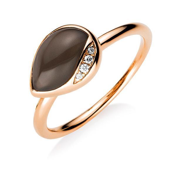 DiamondGroup Ring Mondtopas & Brillant 18 kt Rotgold - 1B266R856-1