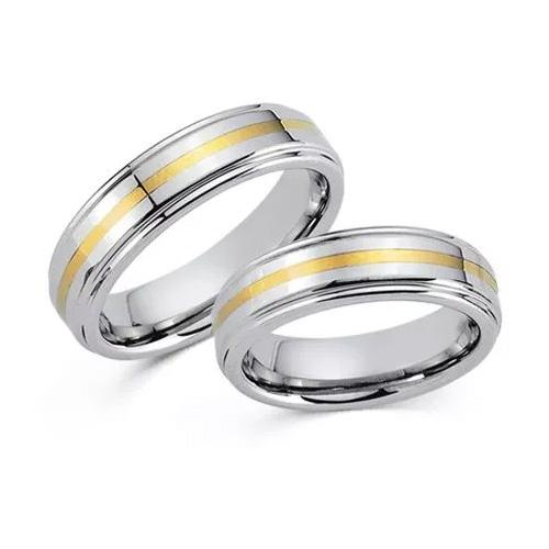 Tungsten Ringe mit Gelbgold 585 - 20005