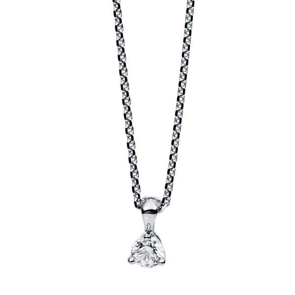 DiamondGroup Diamantcollier Collier 3er-Krappe 14 kt Weißgold - 4B603W4-1