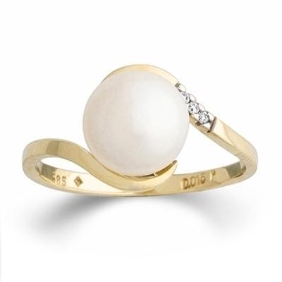 Ring Gelbgold 585 Süßwasser-Perle Brillant Palido K11749G