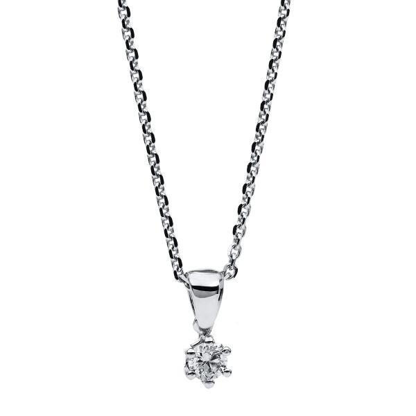 DiamondGroup Diamantcollier Collier 6er-Krappe 14 kt Weißgold - 4A710W4-1
