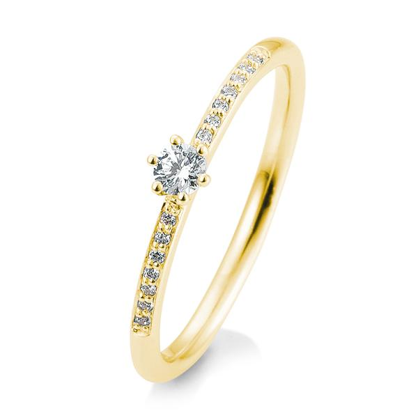 Breuning Verlobungsring Gelbgold Brillant 6er Krappe Verschnitt 41/05803