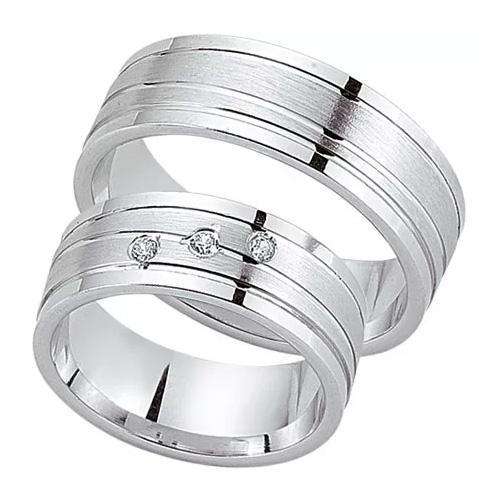 Schwarz Trauringe / Partnerringe Silber 925 Zirkonia SW925-088 Sterlingsilber feinmatt