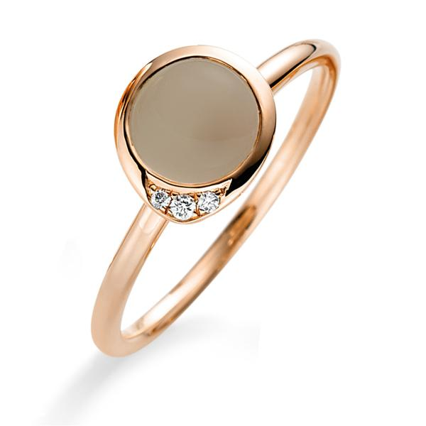 DiamondGroup Ring Mondtopas & Brillant 18 kt Rotgold - 1B332R8535-1