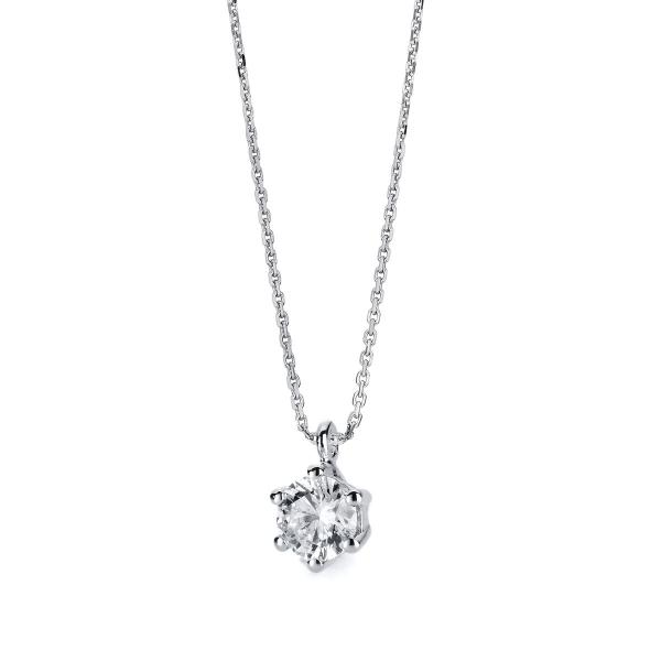 DiamondGroup Diamantcollier Collier 6er-Krappe 14 kt Weißgold - 4A711W4-1