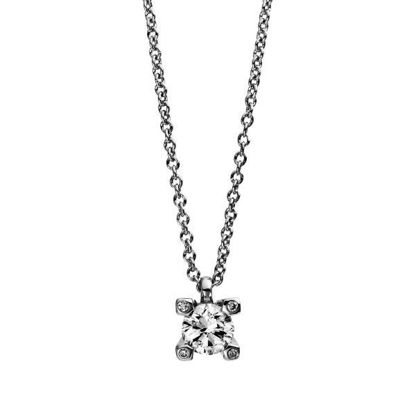 DiamondGroup Diamantcollier Collier 4er-Krappe 18 kt Weißgold - 4D994W8-2