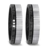 TitanFactory Trauringe Carbon Damaszener Stahl Brillant 52540