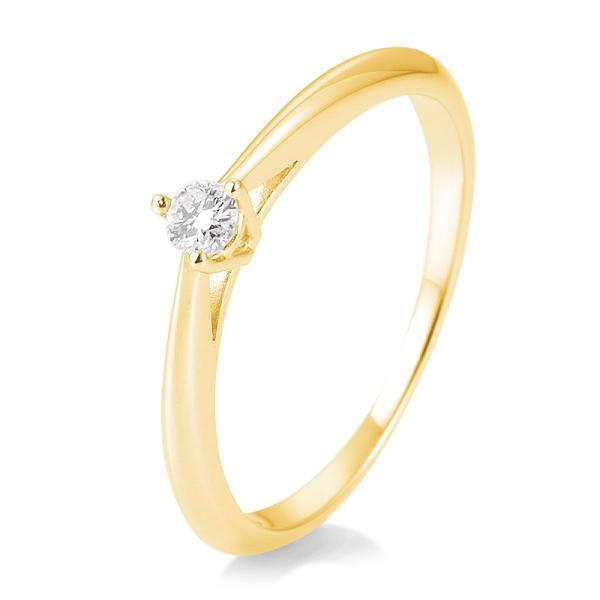 Breuning Solitärring Verlobungsring Gelbgold Diamant 0.100 ct. w/si 3er Krappe 41/85806