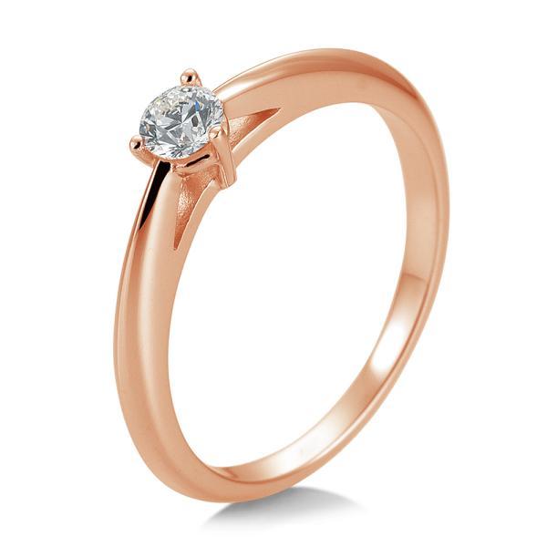 Breuning Solitärring Verlobungsring Rotgold Diamant 0.200 ct. w/si 3er Krappe 41/85868