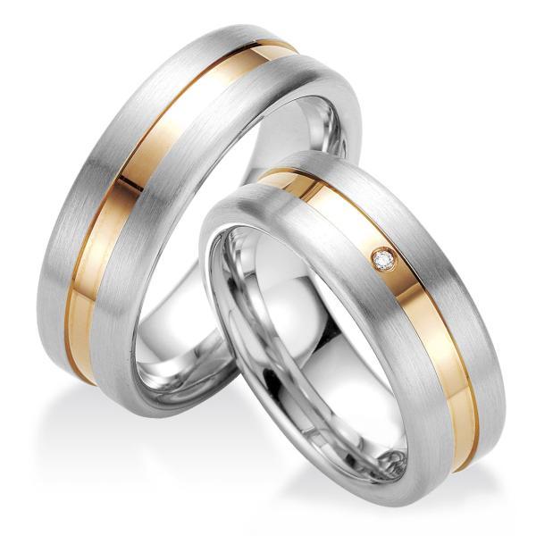 Breuning Trauringe Partnerringe Silber Rotgoldplattierung 48/08027 & 48/08028