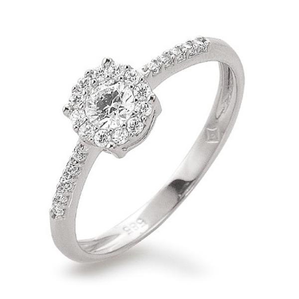 Ring Weißgold 585 Halo Zirkonia Palido K11254W
