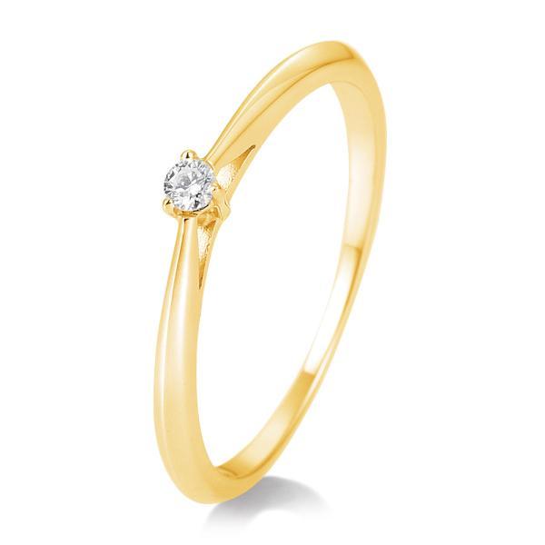 Breuning Solitärring Verlobungsring Gelbgold Diamant 0.050 ct. w/si 3er Krappe 41/85768