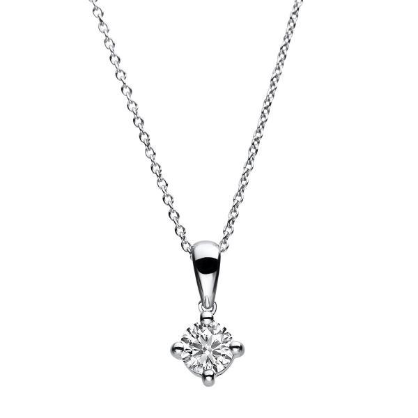 DiamondGroup Diamantcollier Collier 4er-Krappe 14 kt Weißgold, 40 cm, Anker, Karabiner - 4A783W4-2