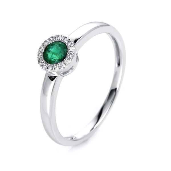 DiamondGroup Ring Smaragd & Brillant 14 kt Weißgold - 1J014W454-1