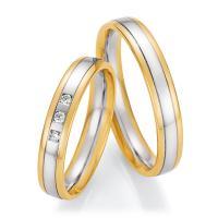 Ruesch Trauringe Bicolor 66/60170-040 & 66/60180-040 Gelbgold & Weißgold