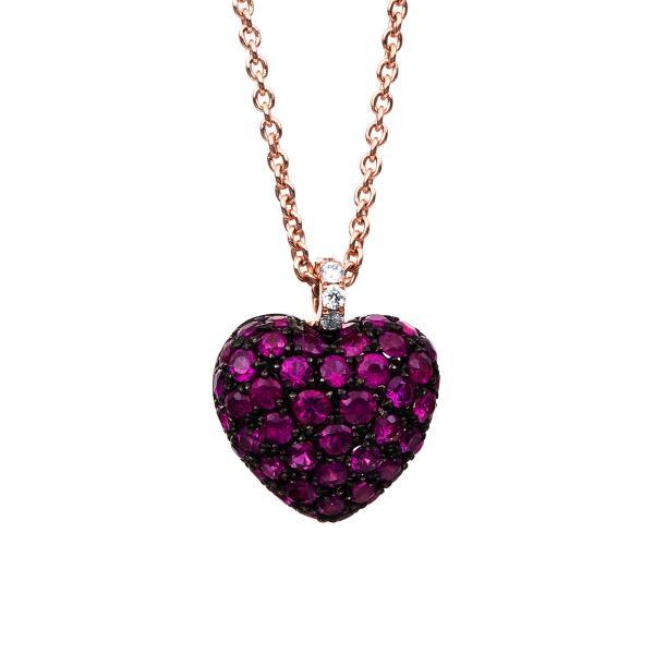 DiamondGroup Diamantcollier Collier 14 kt Rotgold Herz, Fassung schwarz rhodiniert - 4B997R4-1