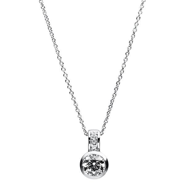 DiamondGroup Diamantcollier Collier Zarge 14 kt Weißgold - 4A773W4-1
