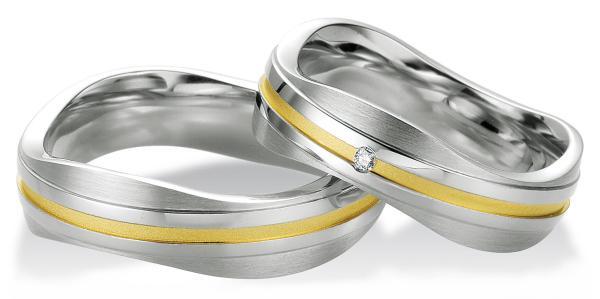 Trauringe Partnerringe Silber 925 Gelbgoldplattierung Breuning 48/08033