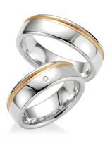 Breuning Trauringe / Partnerringe 48/08025 & 48/08026 aus Silber 925 mit Rotgoldplattierung