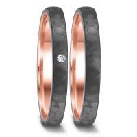 Partnerringe Rotgold 585 & Carbon Brillant TeNo 52658