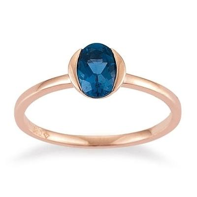 Ring Rotgold 585 Topas London Blue Palido K118675R