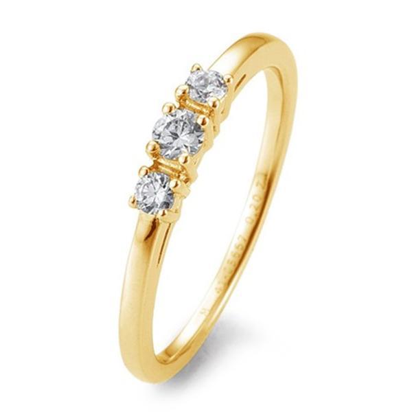 Breuning Verlobungsring Gelbgold 585 Brillant 3 Steine Krappenfassung 41/05667