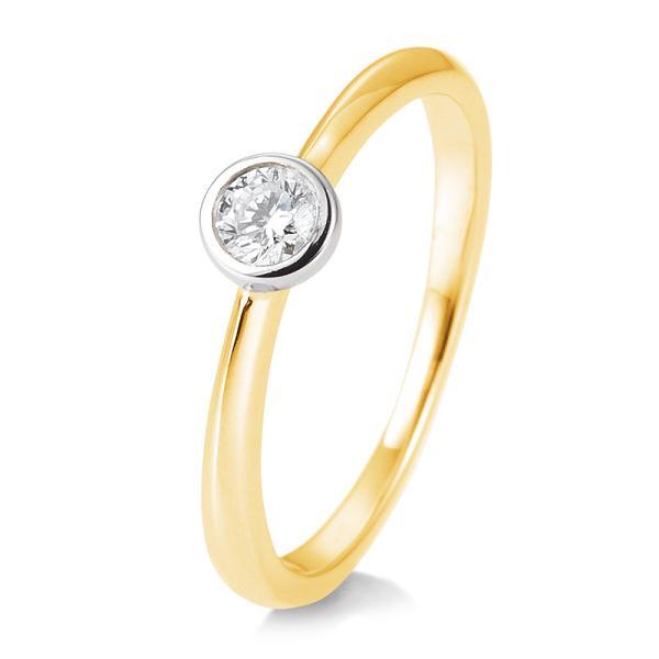 Breuning Ring 41/85128 Bicolor Gelbgold Weißgold 585 Brillant