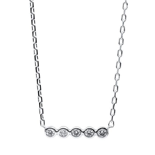 DiamondGroup Diamantcollier Collier Zarge 14 kt Weißgold - 4B533W4-1
