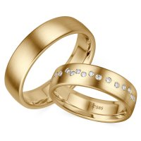 Giloy Trauringe TR-0-00028 & TR-1-00028 Blanche Gelbgold