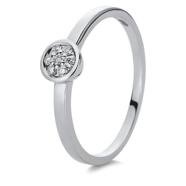 DiamondGroup Ring Zarge 14 kt Weißgold - 1C002W456-2