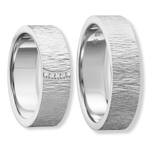 Freundschaftsringe Silber 925 eismatt Zirkonia Bedra 90058