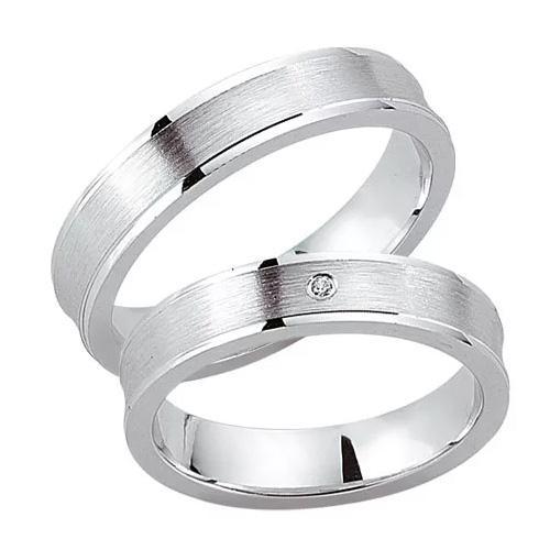Schwarz Trauringe / Partnerringe Silber 925 Zirkonia SW925-039 Sterlingsilber feinmatt