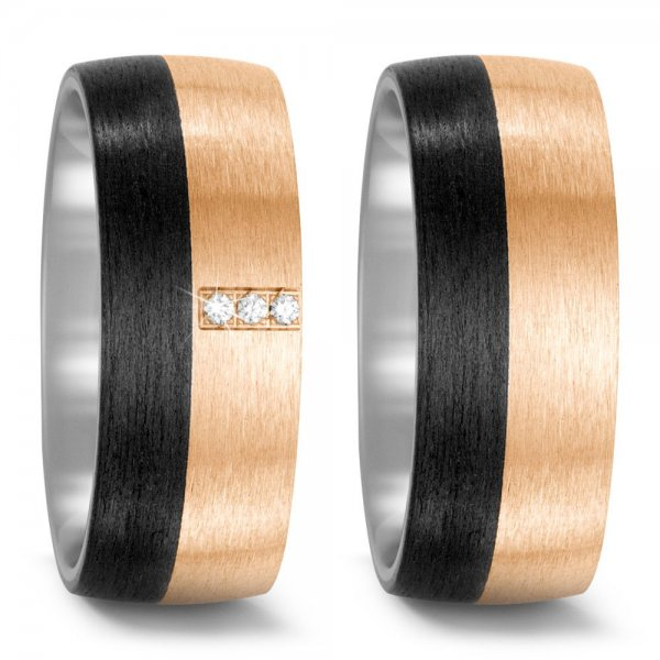 TitanFactory Trauringe Partnerringe Titan Bronze Carbon Brillant 52537
