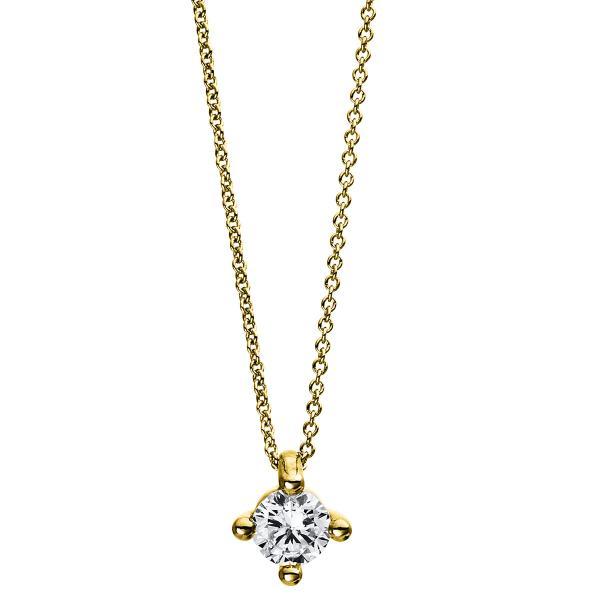 DiamondGroup Diamantcollier Collier 4er-Krappe 14 kt Gelbgold - 4D245G4-1