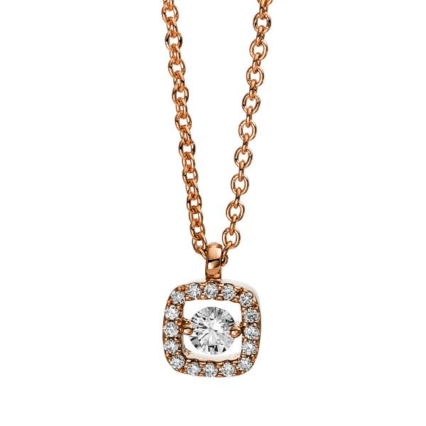 DiamondGroup Diamantcollier Collier 18 kt Rotgold, mit Öse - 4D386R8-4
