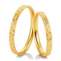 Breuning Trauringe Gelbgold Kristallmatt 48/04983 & 48/04984