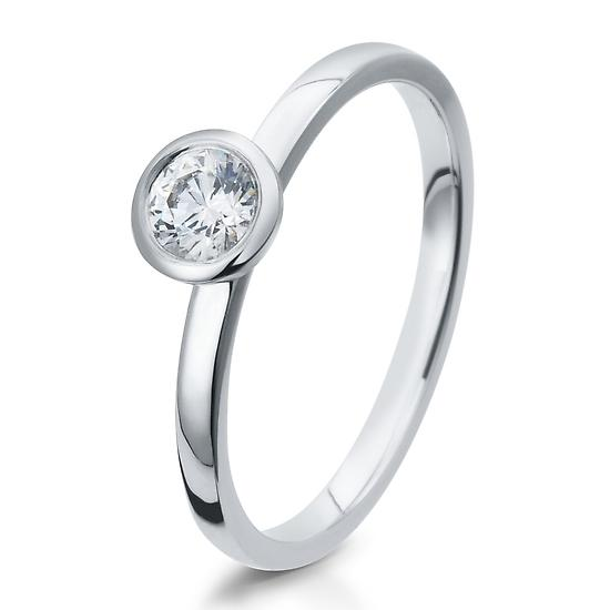 Solitär Ring Silber mit Zirkonia Breuning 41/05295
