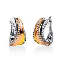 DiamondGroup Creolen aus 18 kt Weißgold & Gelbgold & Rotgold 2A359T8-1