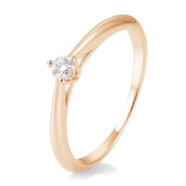 Breuning Solitärring Verlobungsring Rotgold Diamant 0.100 ct. w/si 3er Krappe 41/85806