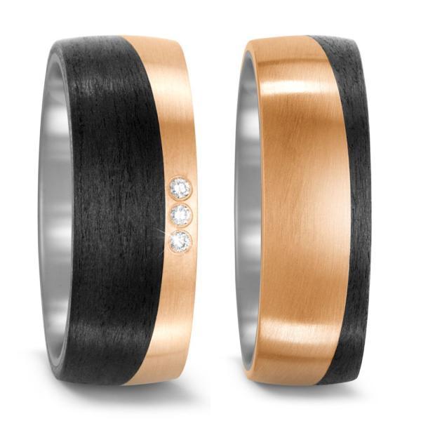 TitanFactory Trauringe Titan Bronze Carbon Brillant 52533