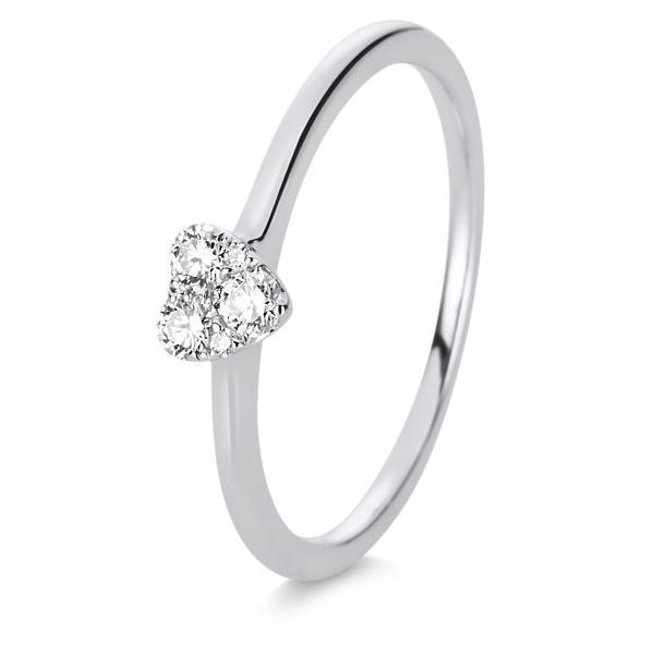 DiamondGroup Ring 18 kt Weißgold Herz - 1D111W850-1