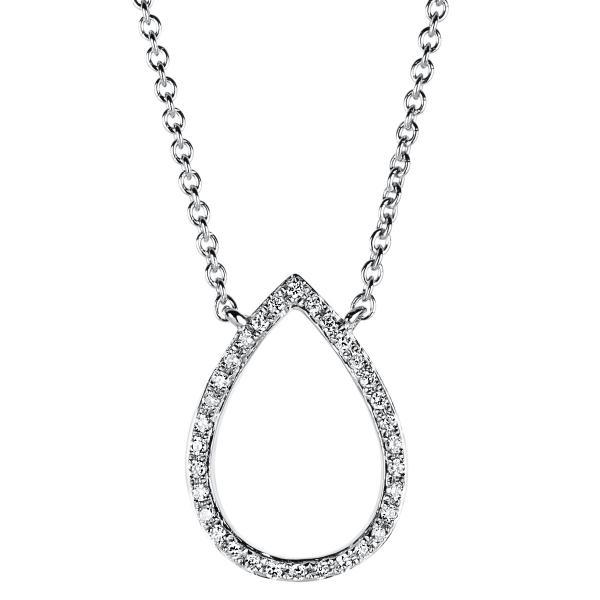 DiamondGroup Diamantcollier Collier 14 kt Weißgold Tropfen - 4A400W4-1