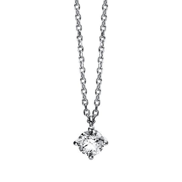 DiamondGroup Diamantcollier Collier 4er-Krappe 14 kt Weißgold - 4C777W4-3