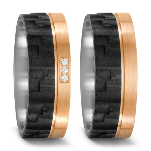 TitanFactory Trauringe Partnerringe Titan Bronze Carbon Brillant 52536
