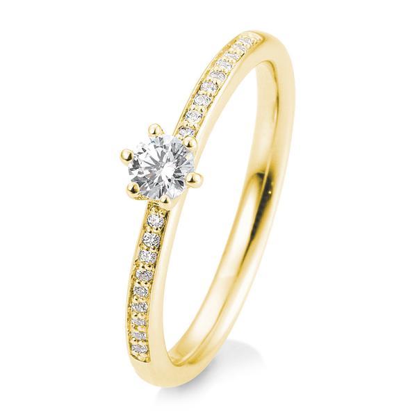 Breuning Verlobungsring Gelbgold Brillant 6er Krappe Verschnitt 41/05805