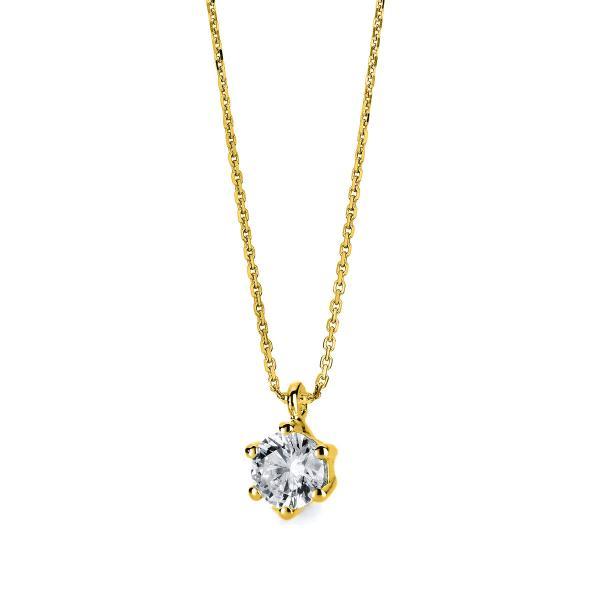 DiamondGroup Diamantcollier Collier 6er-Krappe 14 kt Gelbgold - 4A711G4-1