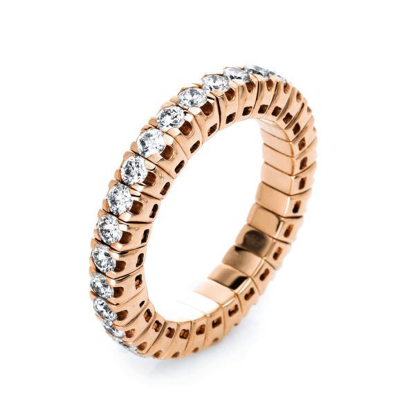 DiamondGroup Ring 4er-Krappe 18 kt Rotgold, Flex-Band, variabel, rhodiniert - 1J195R853-7