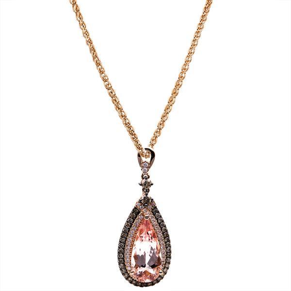 DiamondGroup Diamantcollier Collier 14 kt Rotgold, Zopfkette, Karabiner - 4B511R4-1