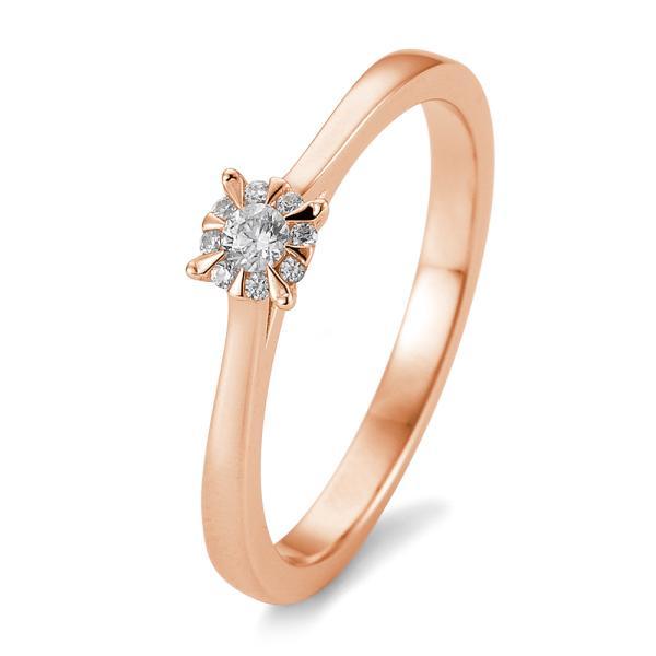 Breuning Solitär Ring Rotgold 585 - 0,104 ct - 05763